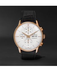 Junghans - Meister Chronoscope 40mm Gold-tone And Alligator Watch - Lyst