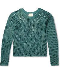 Nicholas Daley Open-knit Cotton Jumper - Green