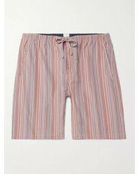 Paul Smith Striped Cotton Drawstring Pyjama Shorts - Multicolour