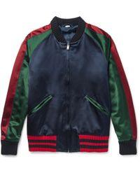 Gucci - Appliquéd Silk-satin Duchesse Bomber Jacket - Lyst