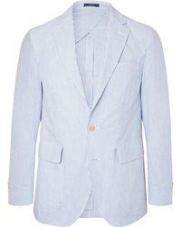 Polo Ralph Lauren - Light-blue Morgan Slim-fit Unstructured Striped Cotton-seersucker Blazer - Lyst