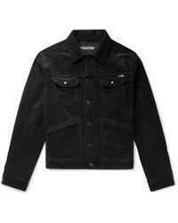 Tom Ford Cotton-blend Corduroy Trucker Jacket - Black