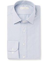 Etro - Blue Slim-fit Cotton-jacquard Shirt - Lyst