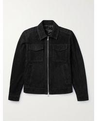 MR P. Suede Trucker Jacket - Black