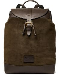 Andersons Textured Leather-trimmed Suede Backpack - Green