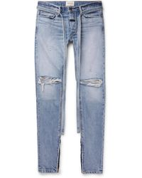 Fear Of God Straight-leg Tapered Belted Distressed Selvedge Denim Jeans - Blue
