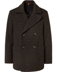 Barena Double-breasted Checked Wool-blend Peacoat - Brown