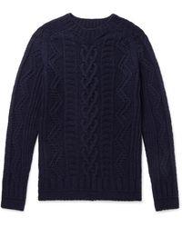 Howlin' By Morrison Supercult Cable-knit Virgin Wool Jumper - Blue