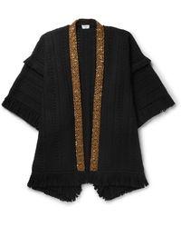 Saint Laurent Embellished Fringed Virgin Wool Poncho - Black