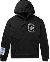 McQ Appliquéd Printed Loopback Cotton-jersey Hoodie - Black
