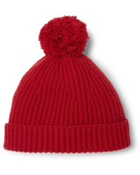 CONNOLLY Goodwood Ribbed Cashmere Beanie - Red