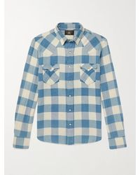 RRL Buffalo-checked Cotton And Linen-blend Flannel Shirt - Blue