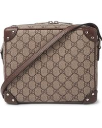 Gucci Studded Leather-trimmed Monogrammed Coated-canvas Messenger Bag - Brown