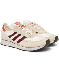 Adidas Originals | Glenbuck Spzl Leather-trimmed Suede And Satin Sneakers | Lyst