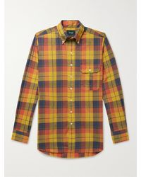 Drake's Button-down Collar Checked Cotton, Linen And Ramie-blend Shirt - Yellow