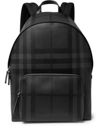Burberry - Checked Leather-trimmed Textured-pvc Backpack - Lyst