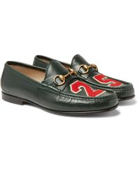 Gucci - Roos Horsebit Appliquéd Leather Loafers - Lyst