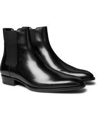 Saint Laurent Wyatt Leather Chelsea Boots - Black