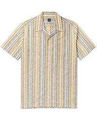 Beams F Camp-collar Striped Cotton And Linen-blend Shirt - Yellow