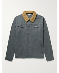 Peter Millar Faux Shearling-trimmed Cotton-blend Flannel Trucker Jacket - Grey