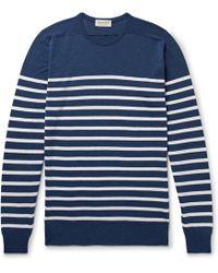 John Smedley - Striped Virgin Wool Jumper - Lyst
