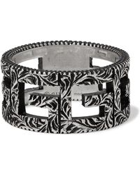 Gucci - Engraved Burnished Sterling Silver Ring - Lyst