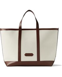 Tom Ford Leather-trimmed Canvas Tote Bag - Multicolor