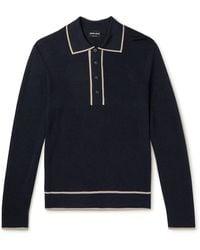 Giorgio Armani Contrast-tipped Knitted Polo Shirt - Blue