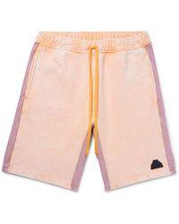 Cav Empt Acid-washed Striped Loopback Cotton-jersey Drawstring Shorts - Orange