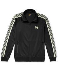 Needles Glittered Webbing-trimmed Tech-jersey Track Jacket - Black
