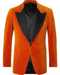 Kingsman Slim-fit Satin-trimmed Cotton-velvet Tuxedo Jacket - Orange