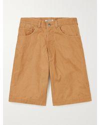AURALEE Organic Cotton-canvas Shorts - Brown