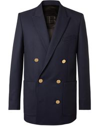 Balmain Slim-fit Double-breasted Wool-twill Blazer - Blue