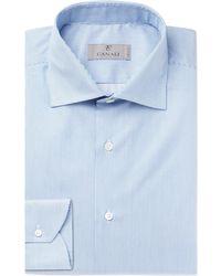 Canali - Blue Striped Cotton Shirt - Lyst