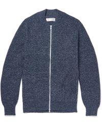 Brunello Cucinelli | Slim-fit Mélange Cotton Zip-up Cardigan | Lyst