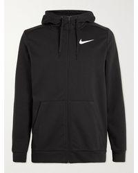 Nike Logo-print Dri-fit Cotton-blend Jersey Zip-up Hoodie - Black