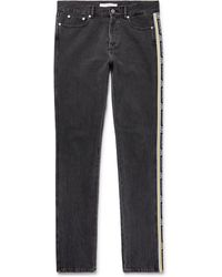 Givenchy - Slim-fit Logo Jacquard-trimmed Denim Jeans - Lyst