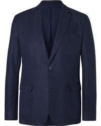 Orlebar Brown - Navy Edgar Slim-fit Unstructured Linen Blazer - Lyst