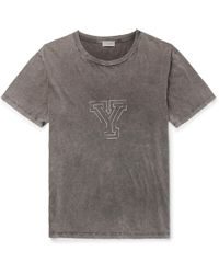 Saint Laurent - Oversized Distressed Printed Cotton-jersey T-shirt - Lyst