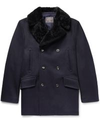 Private White V.c. - Double-breasted Shearling-trimmed Melton Wool Coat - Lyst