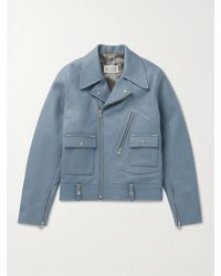 Maison Margiela Leather Biker Jacket - Blue