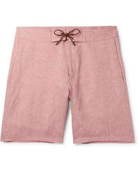 Sease Sunset Suede-trimmed Linen Shorts - Red