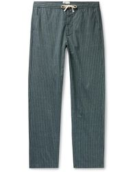 Oliver Spencer Townsend Striped Organic Cotton Pajama Pants - Green