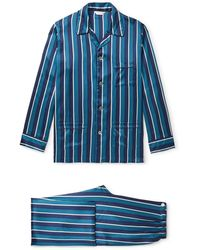 Derek Rose Brindisi Striped Silk Pyjama Set - Blue