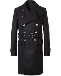 Balmain Belted Double-breasted Virgin Wool-blend Coat - Blue