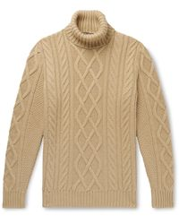 Loro Piana Cable-knit Baby Cashmere Rollneck Jumper - Brown