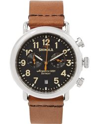 Shinola - The Runwell 41mm Stainless Steel And Leather Chronograph Watch - Lyst