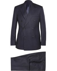 Kingsman Navy Double-Breasted Pinstripe Suit - Blue