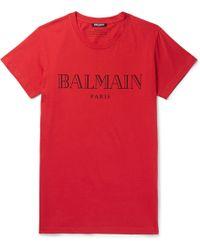 Balmain - Slim-fit Printed Cotton-jersey T-shirt - Lyst