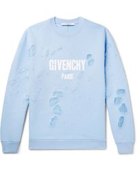 Givenchy | Cuban-fit Distressed Printed Cotton-jersey Sweatshirt | Lyst